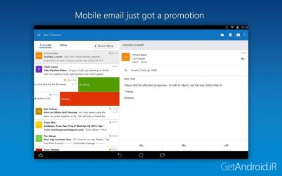 دانلود Microsoft Outlook 2.2.1 برنامه آوت لوک مایکروسافت اندروید