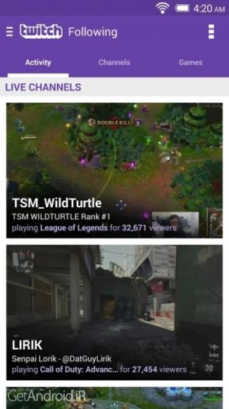 دانلود توئیچ Twitch 5.8.0 برنامه مشاهده تریلرهای بازی برای گیمرها اندروید