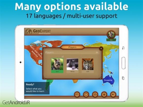 دانلود GeoExpert - World Geography 4.3.0 برنامه آموزش نام کشورها و پایتخت آنها در قالب بازی اندروید