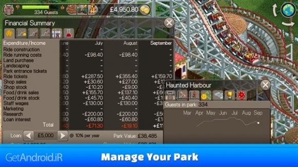 دانلود RollerCoaster Tycoon Classic 1.0.4.1701042 بازی شبیه سازی شهربازی اندروید