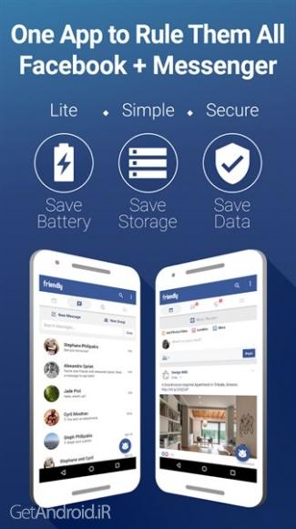 دانلود Friendly for Facebook 1.9.55 اپلیکیشن جایگزین فیس بوک اندروید