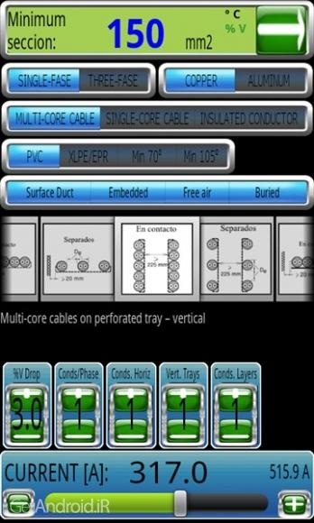 دانلود Electric Lines Calculato 2.3 برنامه محاسبات کابل برق اندروید