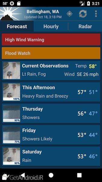 دانلود NOAA Weather Unofficial (Pro) v2.11.1 برنامه هواشناسی قوی و دقیق اندروید